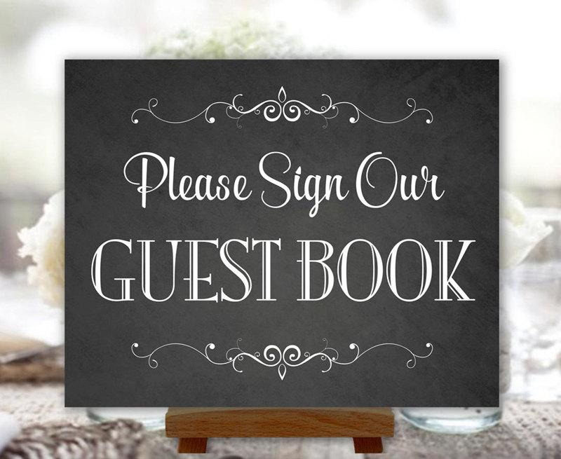 Mariage - Guest Book Sign Chalkboard Wedding Party Printable Instant Download Ready to Print (#GUE1C)