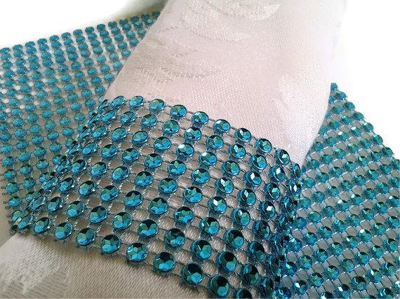 Wedding - Turquoise Teal Napkin Rings Bling Rhinestone Crystal Elegant Party or  Wedding Napkin Rings 25 Pc Lot