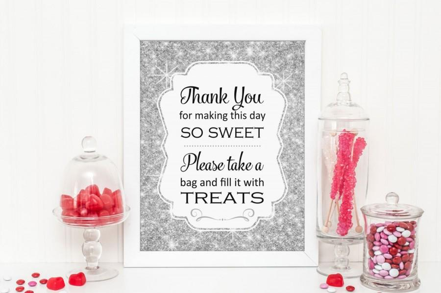 silver sparkle candy buffet sign printable download bling candy table candy bar bridal shower baby shower wedding best selling item