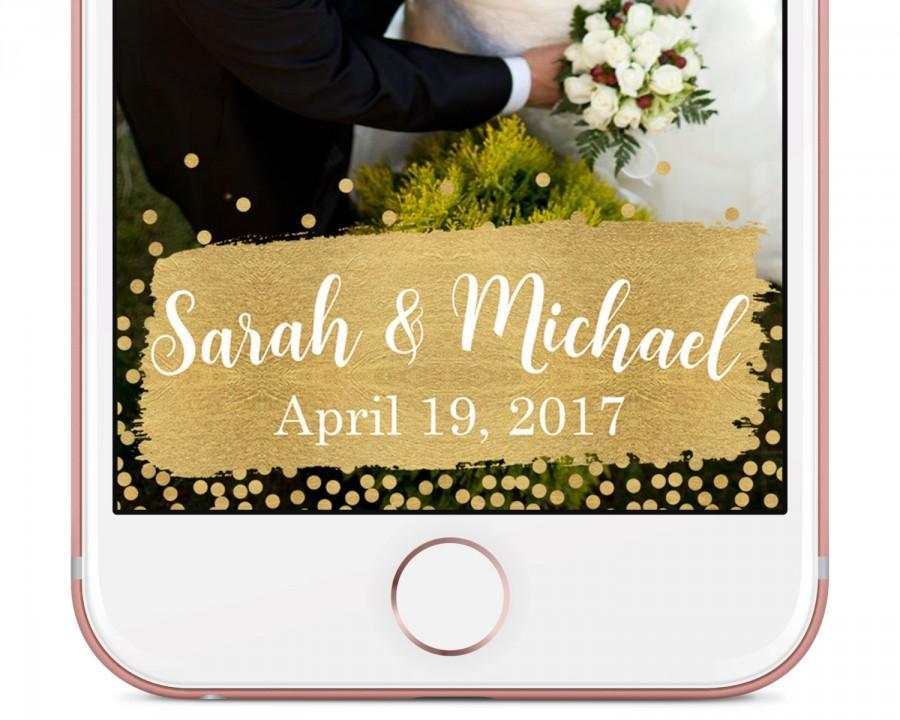 Hochzeit - Custom Wedding Snapchat Geofilter / Gold Snapchat Wedding Geofilter / Gold Custom Snapchat Filter, Wedding Geofilter, Custom Snapchat Filter