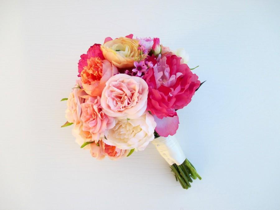 Mariage - Pink, Yellow-Orange, Peach Peony Bridal Bouquet, Wedding Bouquet Modern, Pink Peonies, Silk Flowers, Spring Bouquet, Artificial, Weddings
