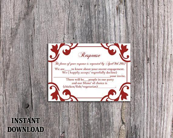 Wedding - DIY Wedding RSVP Template Editable Word File Instant Download Rsvp Template Printable RSVP Cards Wine Red Rsvp Card Elegant Rsvp Card