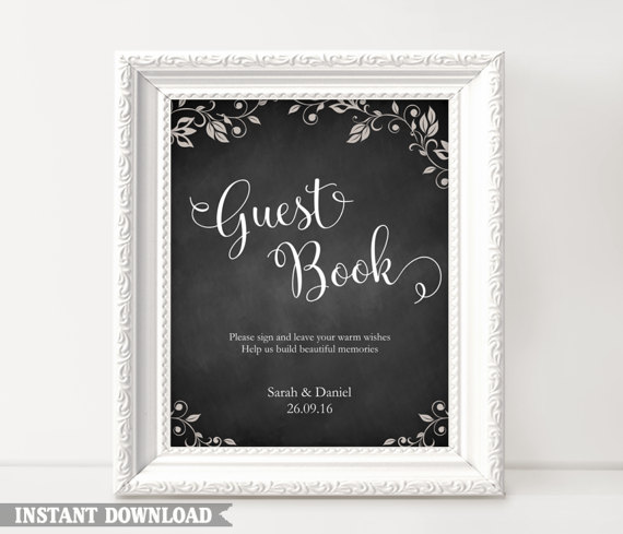 Guest Book Sign Wedding Guest Book Sign Printable Guest Book Sign - Chalkboard sign template