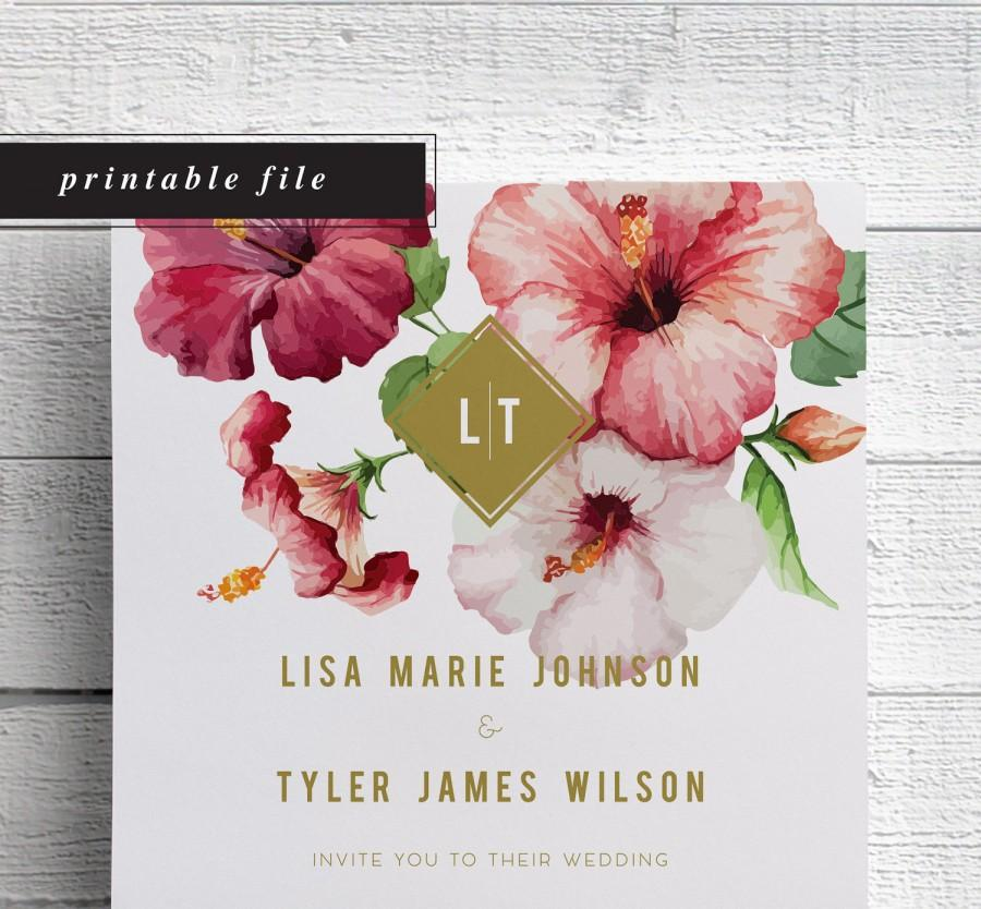 Tropical Wedding Invitation, Printable Wedding Invitation, Beach ...