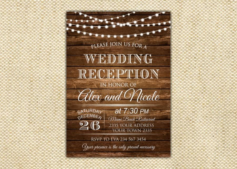 Hochzeit - Wedding Reception Invitation. Rustic Wedding Reception Invitation. Custom Invitation. Light Bulb Invites. Wooden.