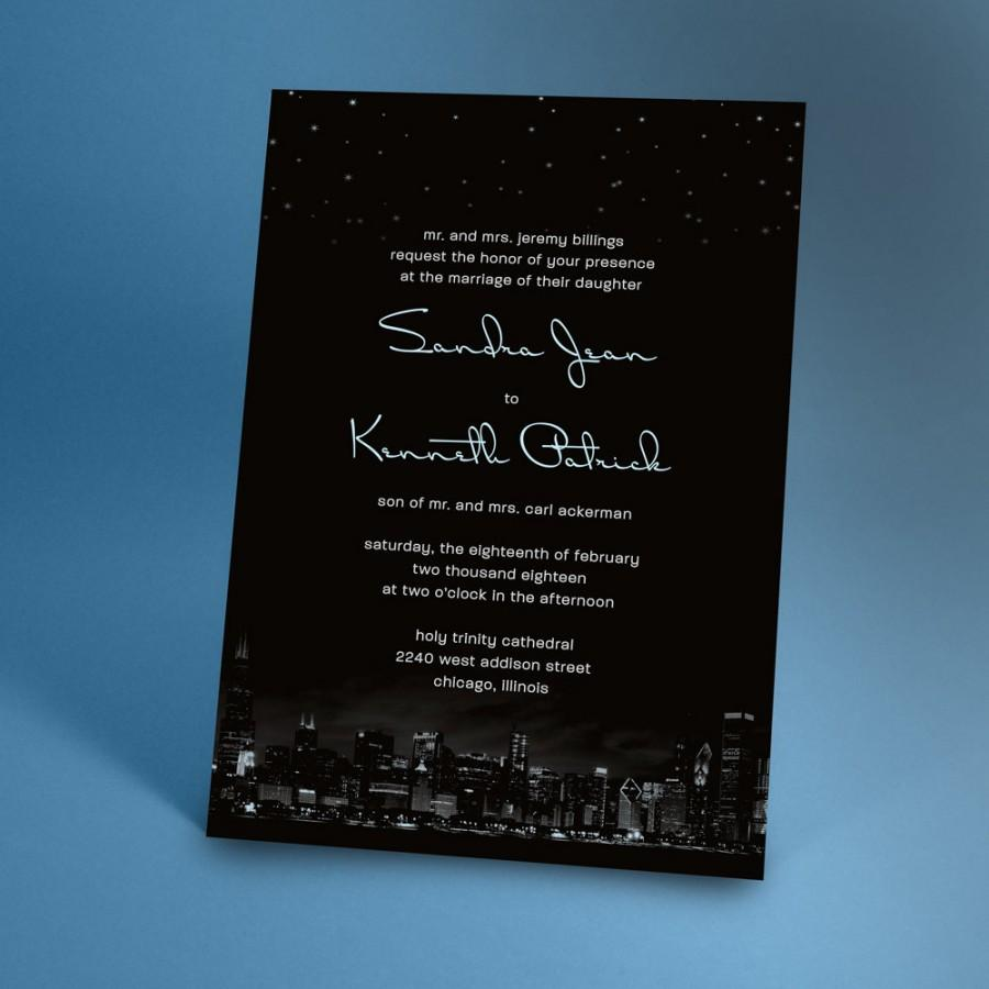 chicago city skyline wedding invitations with night stars city