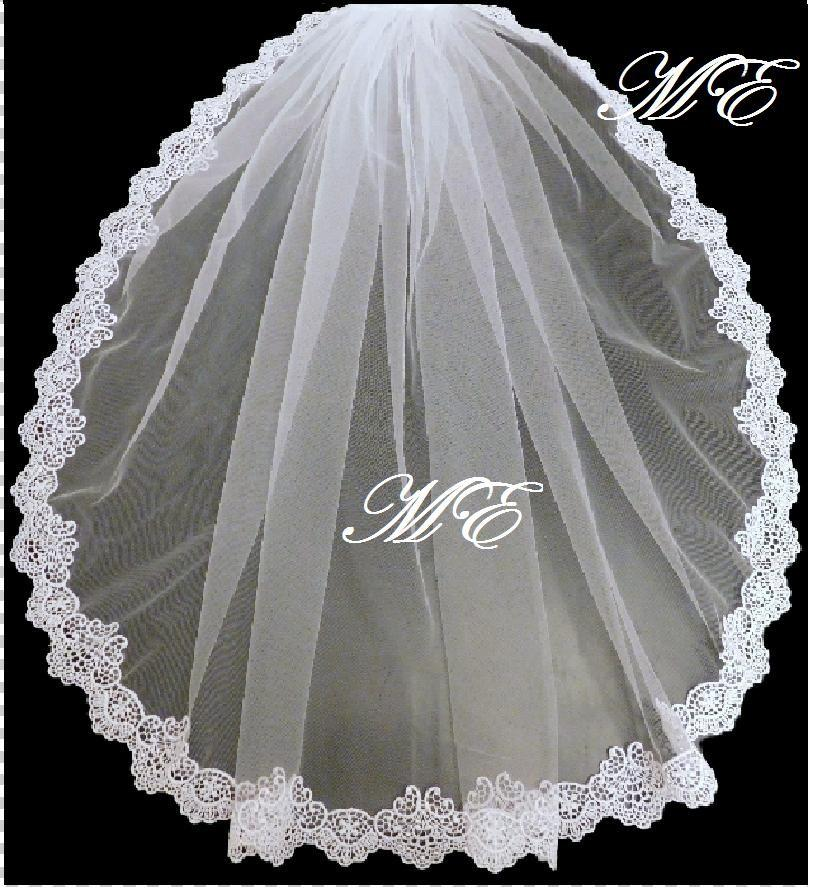 Mariage - Mantilla veil Bridal veil 1 Tier LACE EDGE bridal veil.  long Bridal wedding veil. White, Ivory, girls communion Veil
