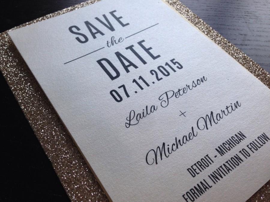 Wedding - Simple, Elegant, Glitter Save-The-Date