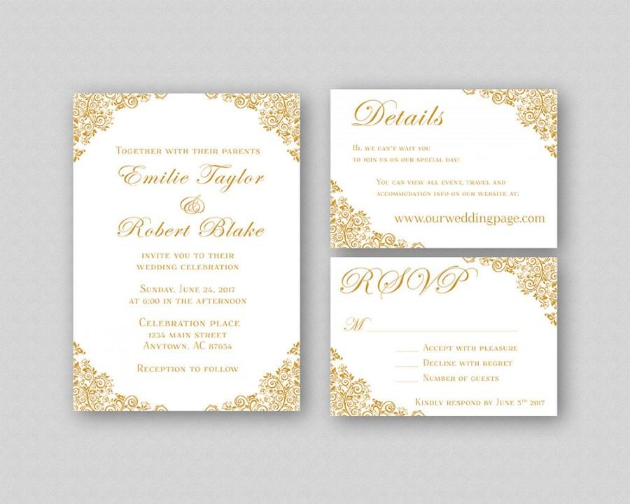 Wedding Invitations, Gold Wedding Invitation Suite, Elegant Wedding  Invitation Template, Printable Wedding Invitation Set   Floral Corners