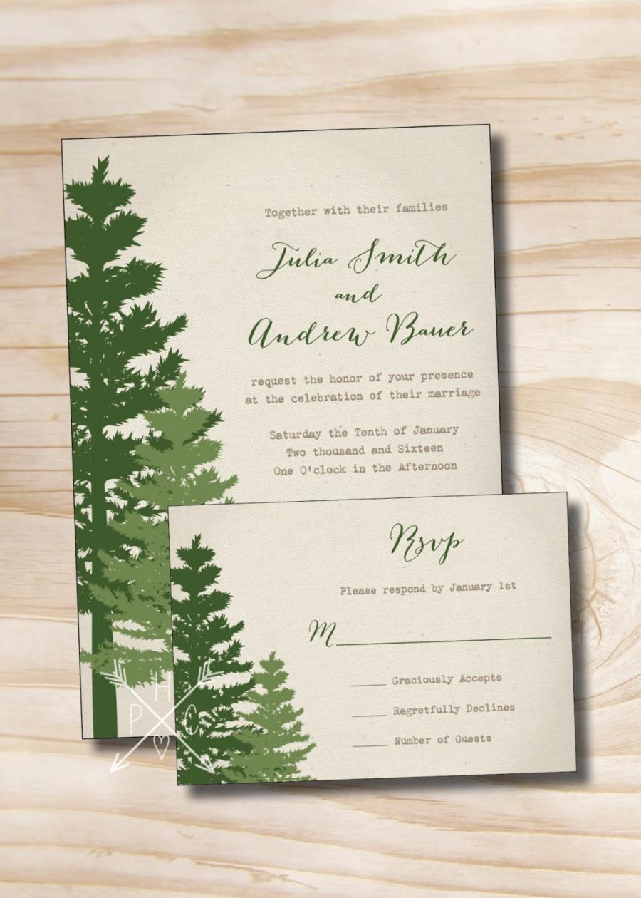 RUSTIC PINE TREE Wedding Invitation And Response Card Invitation ...