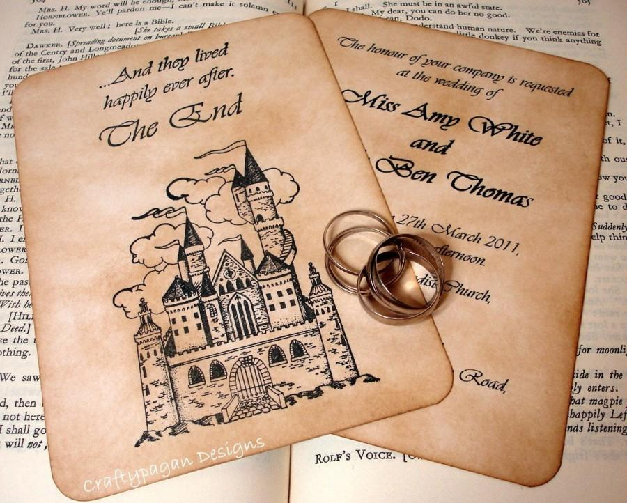 Свадьба - Fairytale Wedding Invitation and RSVP Card with Envelopes and Vintage Address Stickers or Love Seals