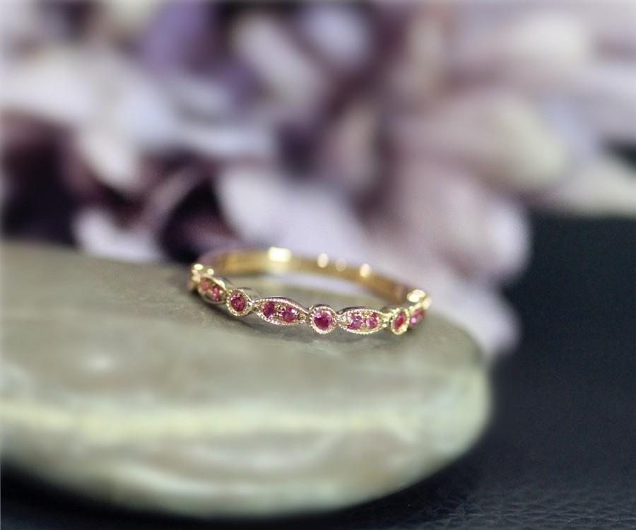 July Birthstone Natural Red Ruby Wedding Ring Half Eternity Engagement Solid 14k Rose Gold Anniversary Matching Band Birthday Gift