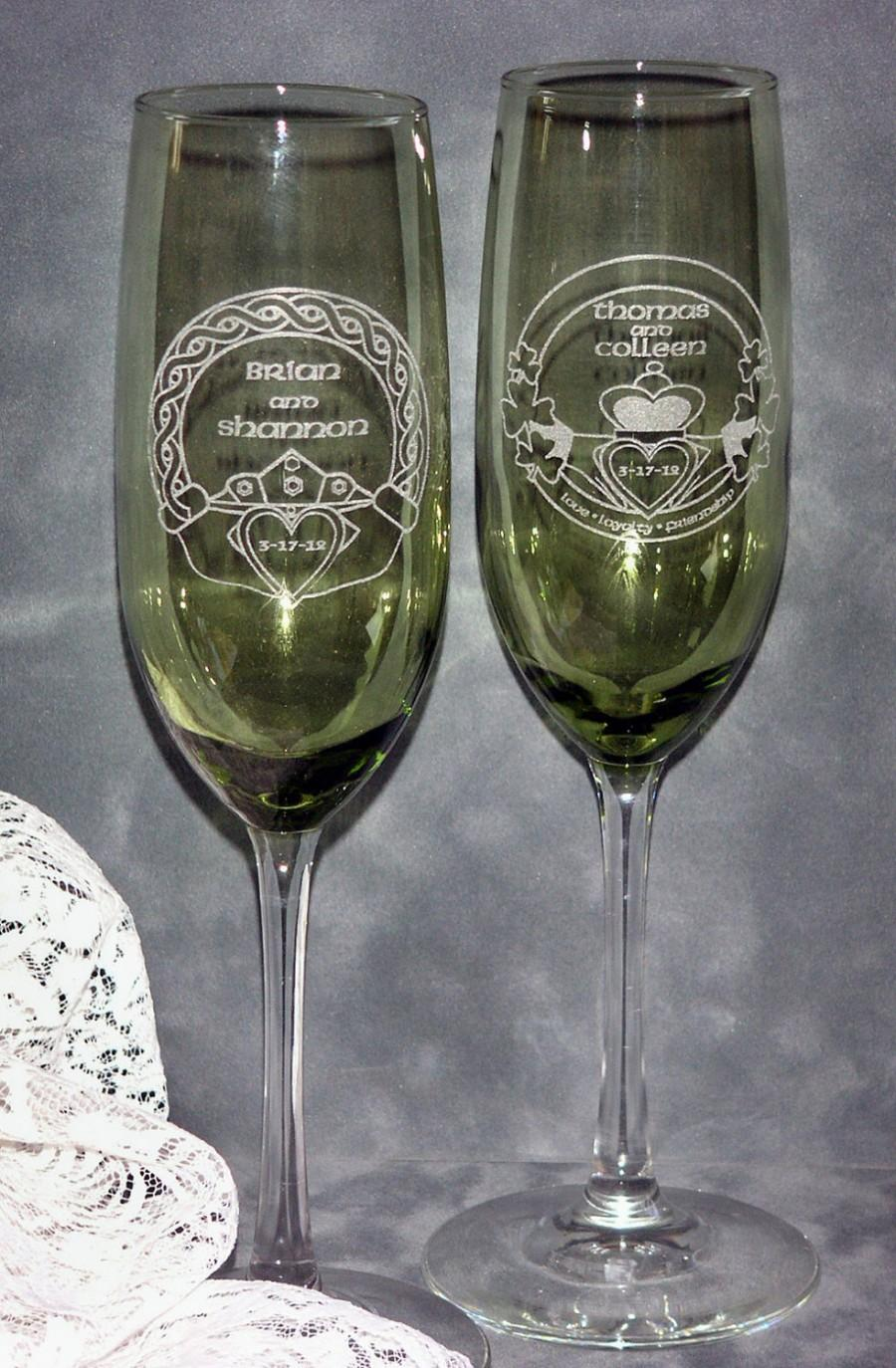 Mariage - Irish Claddagh Wedding Toasting Champagne Flutes