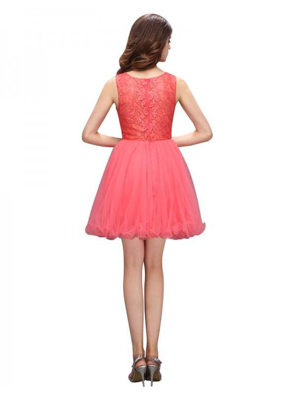 Mariage - Popular Bateau Sleeveless Short Coral Prom Dress with Beading Lace Top
