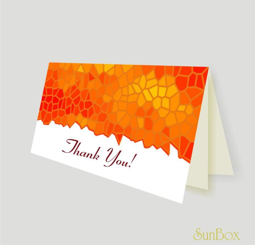 Mariage - Thank You Card PDF File. Printable DIY Orange, Yellow And White Note Card. Autumn Colors. Stained Glass Illustration