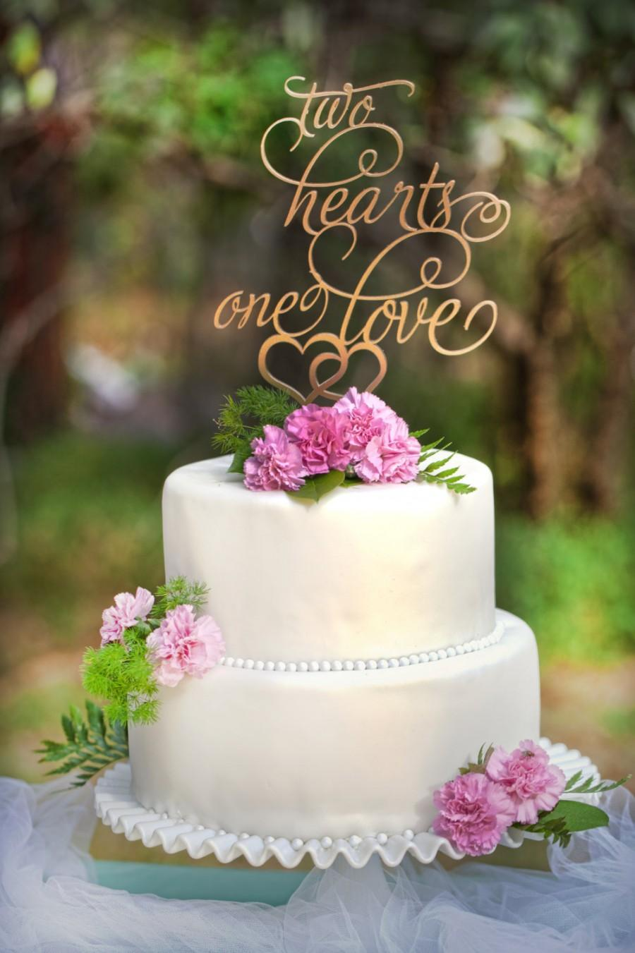 Mariage - Wedding Cake Topper  Two Hearts One Love