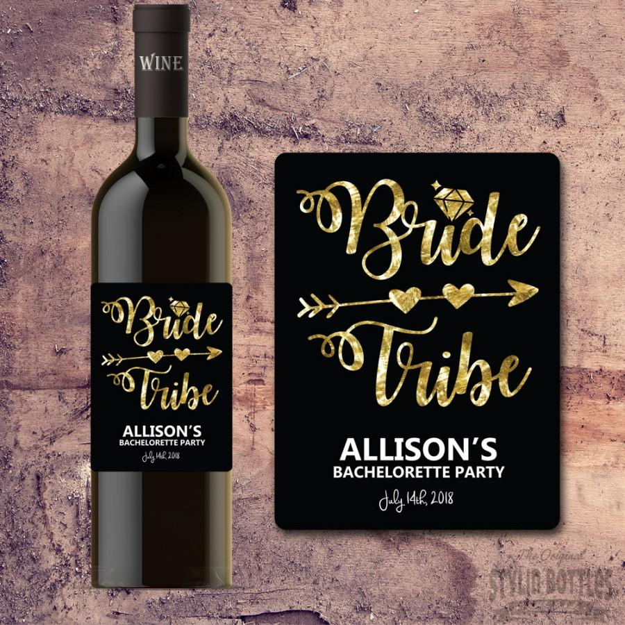 Boda - BRIDE TRIBE WINE Bottle Label - Bachelorette Party Wine Label Gift, Invite, Favor, Faux Gold