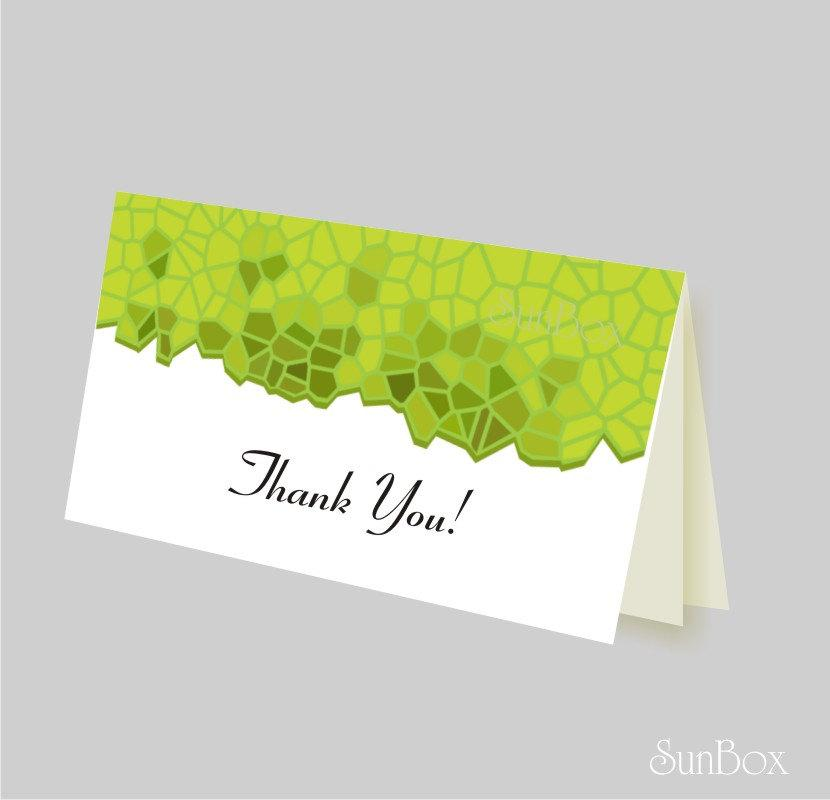 Mariage - Thank You Card PDF File. Printable DIY Green And White Card