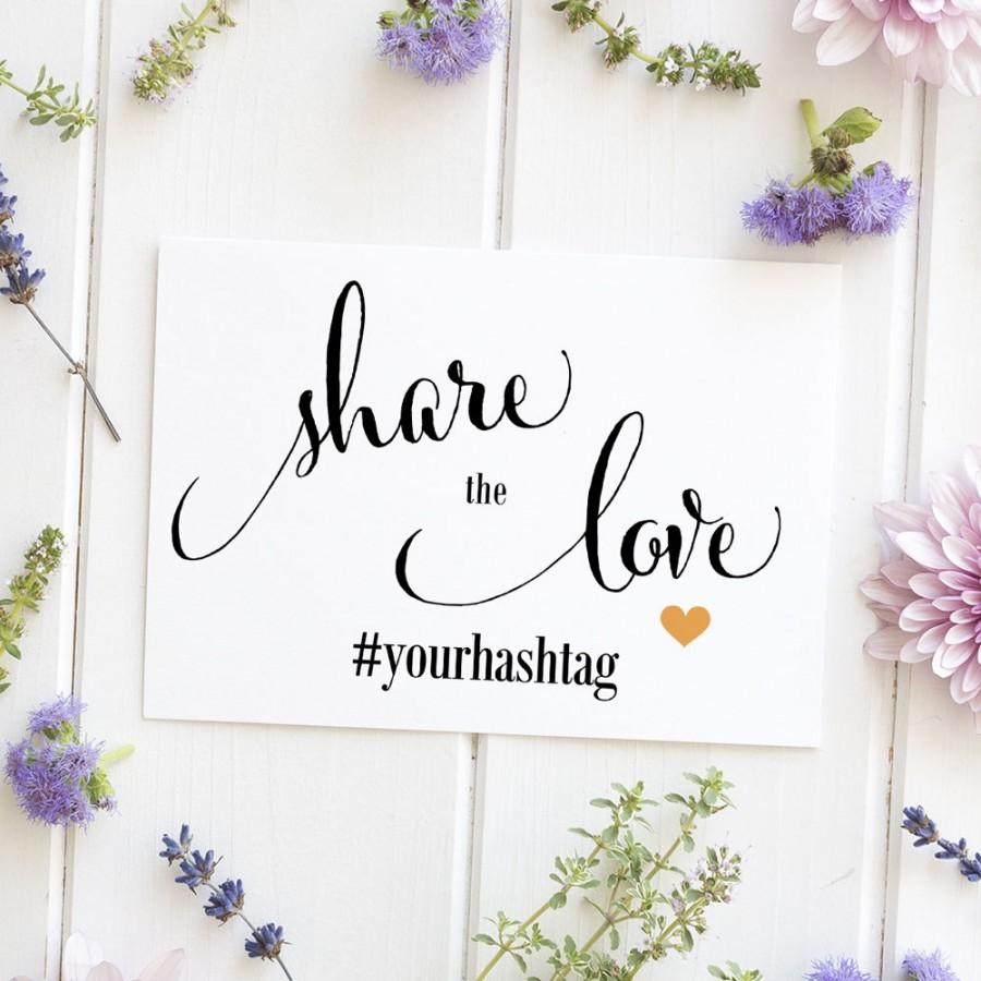 Mariage - Wedding Hashtag Sign, Social Media, Photo, Instagram, Facebook, Twitter, Snapchat, Hashtag Signage - Size 5 x 7, SC-CAN