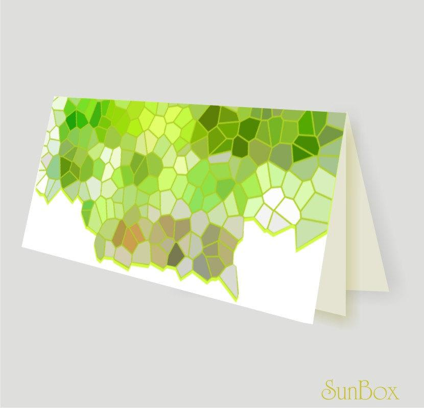 Mariage - Printable DIY Pastel Green Beige And White Note Card PDF File  Spring Colors Stained Glass Illustration