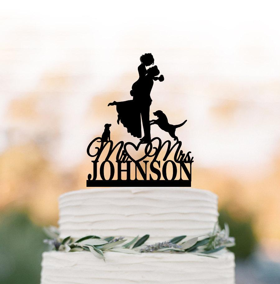 Свадьба - Custom Wedding Cake topper with two dog, bride and groom silhouette, personalized wedding cake topper letters,  unique dog cake topper