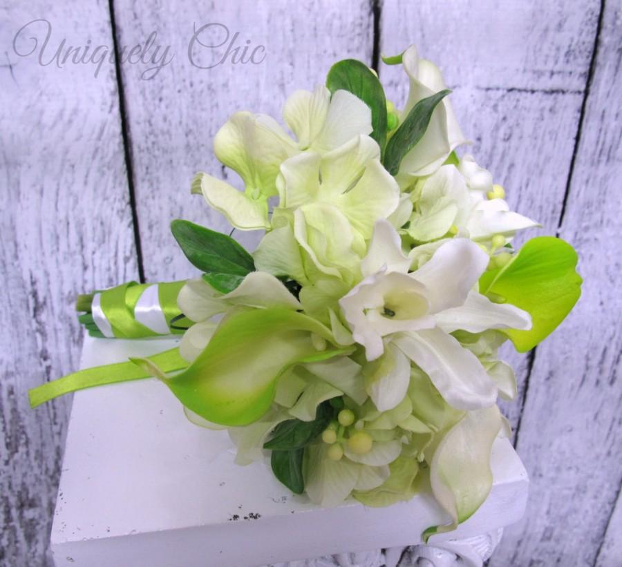 Hochzeit - Bridesmaid bouquet, Lime green calla white orchid wedding bouquet
