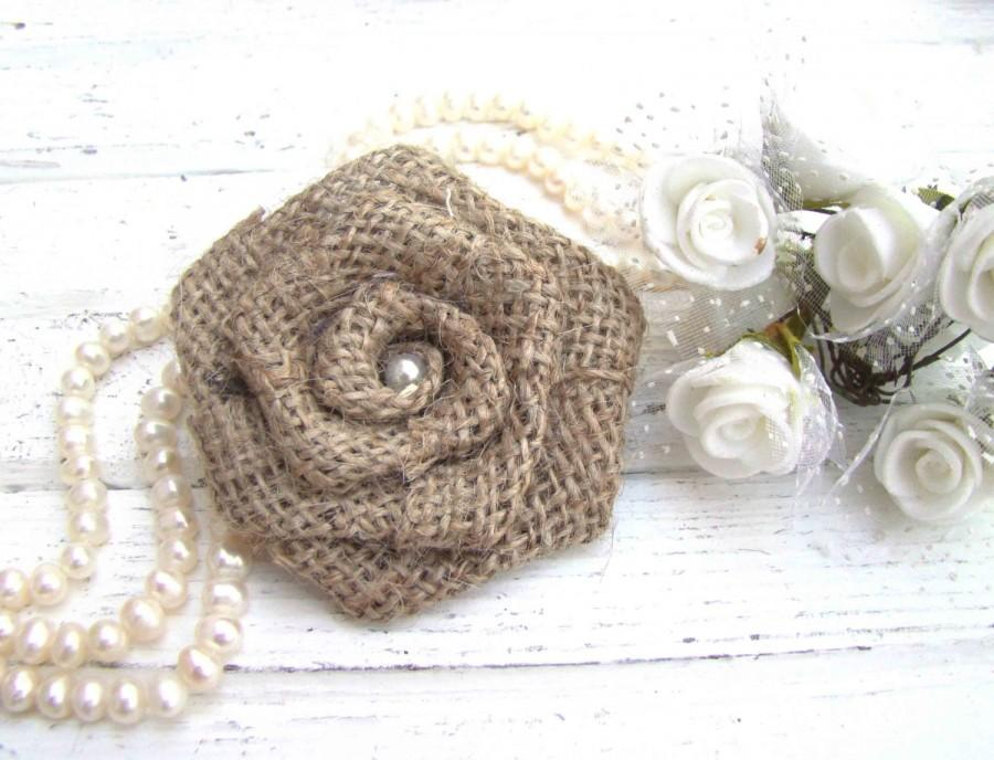 Mariage - Burlap Wedding Flowers Set of 12 handmade fabric rosettes Wedding Decor Flower Ornament Bridal Wedding Party Favor Rustic Chic Bouquet