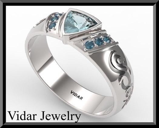 Свадьба - Wedding Band,Silver Wedding Ring,Men's Aquamarine And Blue Diamond Wedding Band,unique Wedding Band,Diamond Wedding Band,men,Custom,Blue