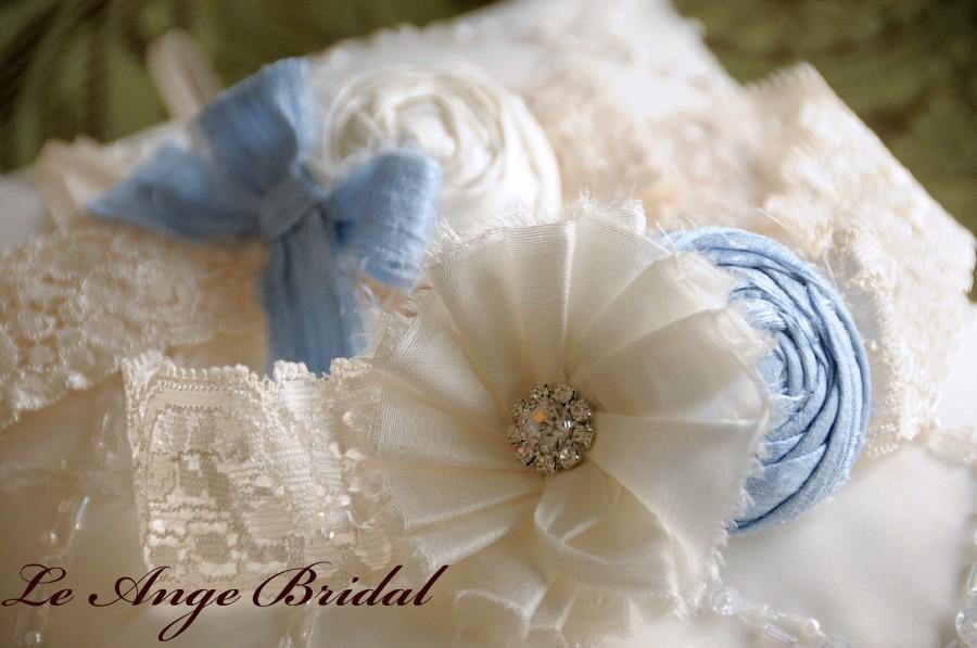 Wedding - SILK Baby Blue Wedding Garters/ Wedding Garter/ Garter Set/ Bridal Garter/ Dupioni Silk/Vintage Wedding Garter