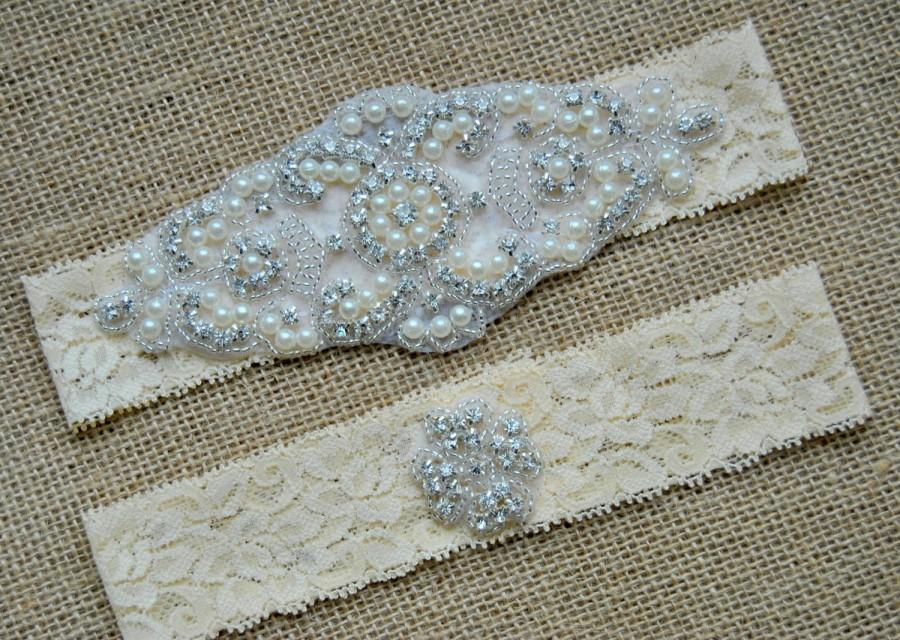 Hochzeit - Garter Set Crystal, Wedding Garter Set Ivory, Bridal Garter Set, Vintage Wedding, Lace Garter, Crystal Rhinestone Garter and Toss Garter Set