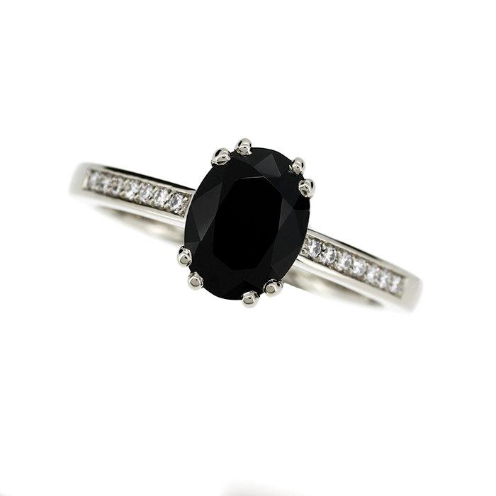 Wedding - 10% SALE Size 6, Black spinel and diamond solitaire engagement ring made from white gold, oval cut spinel, black engagement, gothic, unique