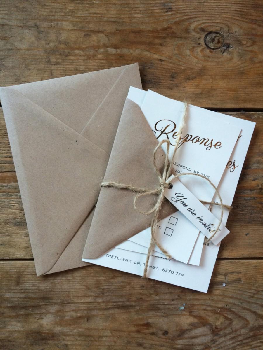 Mariage - Rustic wedding invitation set, gold foil weding invitation, rustic wedding, elegant wedding invitation suite, twine wedding invitation