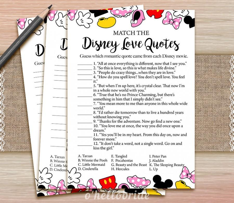 Printable Love Quotes Custom Disney Love Quotes Match Game  Printable Bridal Shower Love Quote