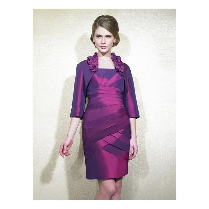 Mariage - Elegant Taffeta Square Neckline Knee-length Sheath Mother Of The Bride Dress - overpinks.com