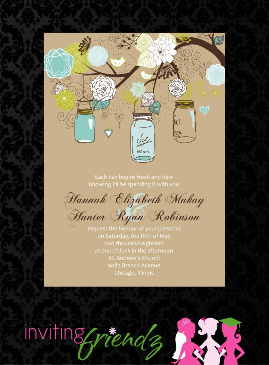 Wedding - Mason Jar Printable Wedding Invitation with Response