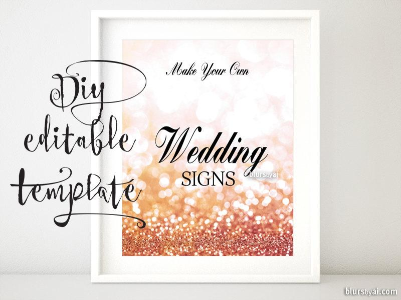 "Düğün - 8x10"" - DIY Printable sign TEMPLATE for Word. Make your own rose gold wedding signs, bridal shower signs party signs. gp262 Olivia"