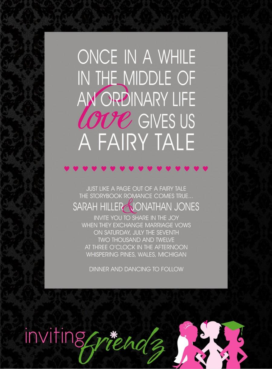 Mariage - Unique Fairy Tale Printable Wedding Invitation with Response