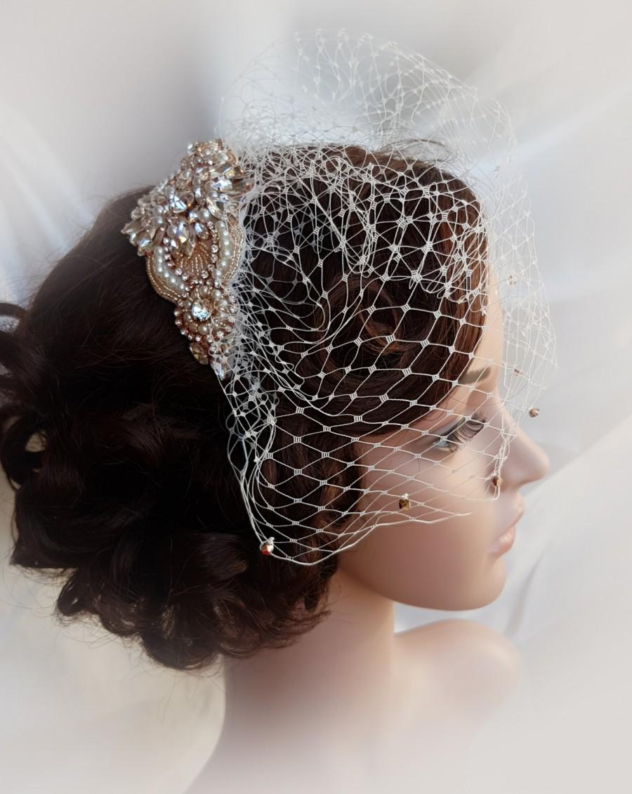Свадьба - Rose gold Birdcage, rose gold, gold bridal veil, small wedding veil, blusher veil, birdcage veil, birdcage , mini birdcage veil, LORETTA