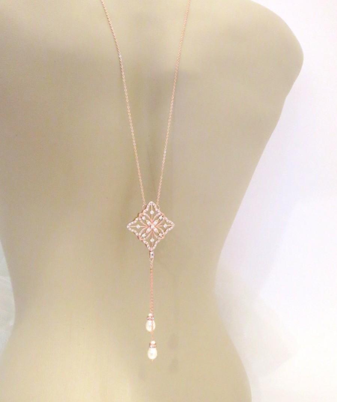 Mariage - Backdrop necklace, Rose Gold necklace, Bridal necklace, Wedding jewelry, Rose Gold back necklace, Crystal necklace, Statement necklace