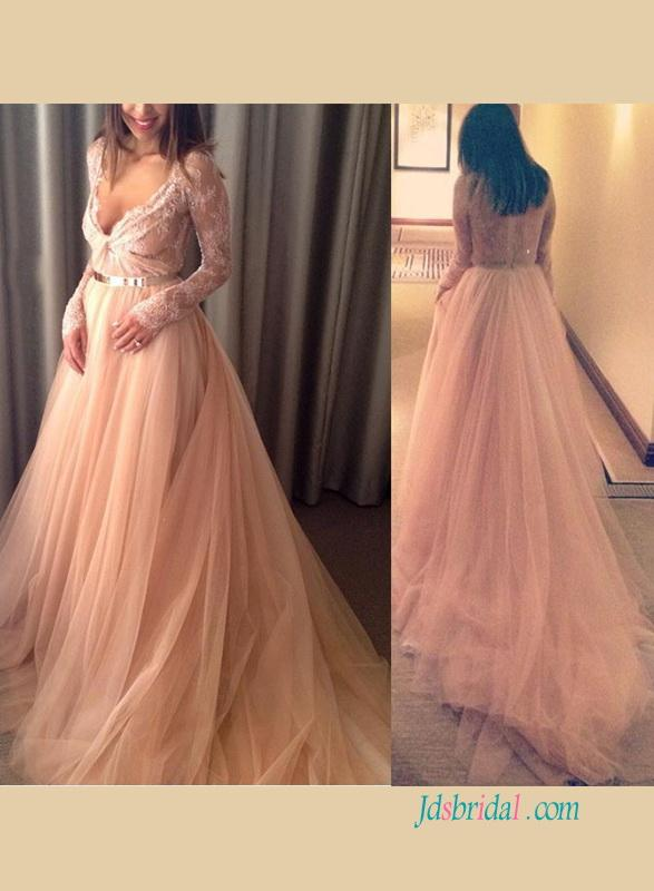 Mariage - Sexy plunging see through blush tulle wedding dress