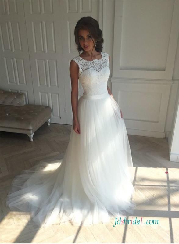 Wedding - Simple lace bodice tulle bottom a line wedding dress