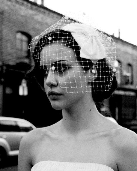 زفاف - Weddings,1950s  Bow headdress with detachable birdcage veil with dots, white, ivory, cream, champagne, pink, black, blue, AgnesHart
