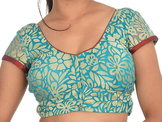Wedding - Readymade Partywear Blue Color Brocade Saree Blouse with beautiful flower - All Sizes