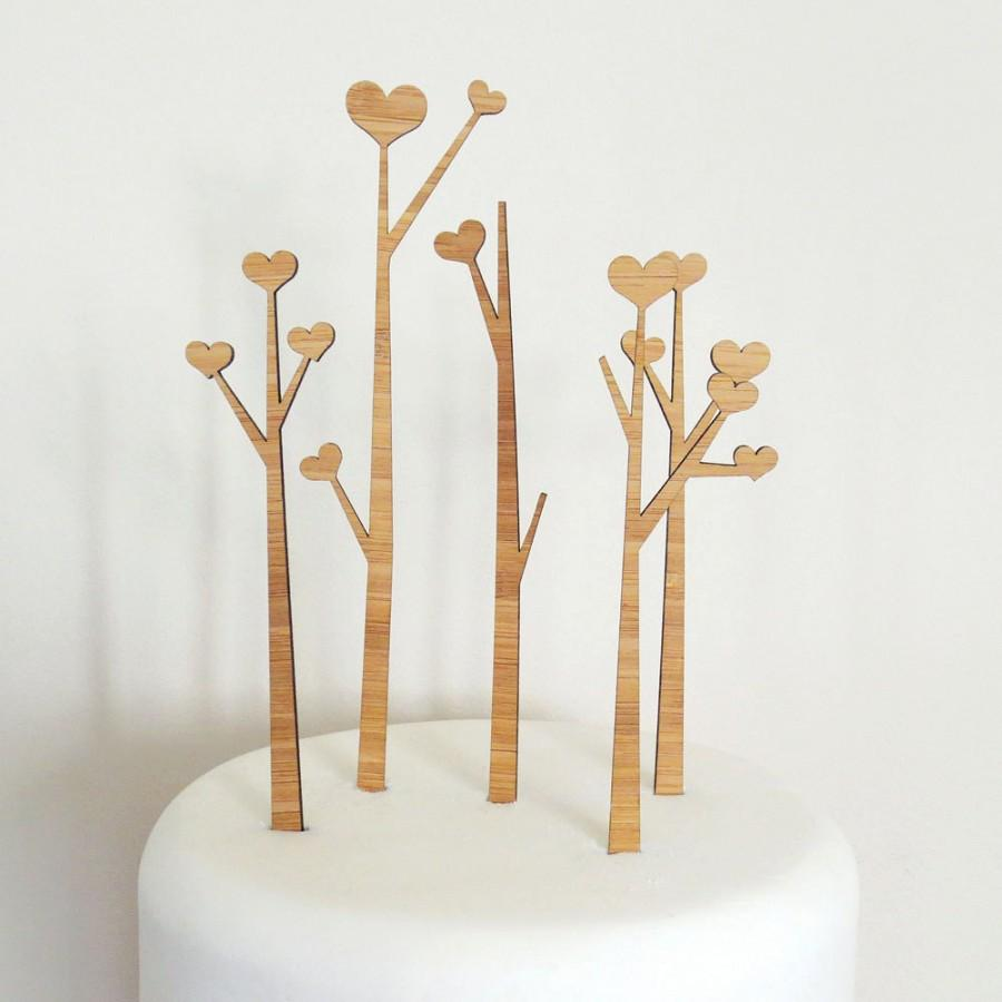 Mariage - Heart Trees Cake Topper Set. Heart Tree. Wedding Cake Topper. Cake Topper. Rustic Cake Topper. Wood Cake Topper. Wedding Cake Ornament.