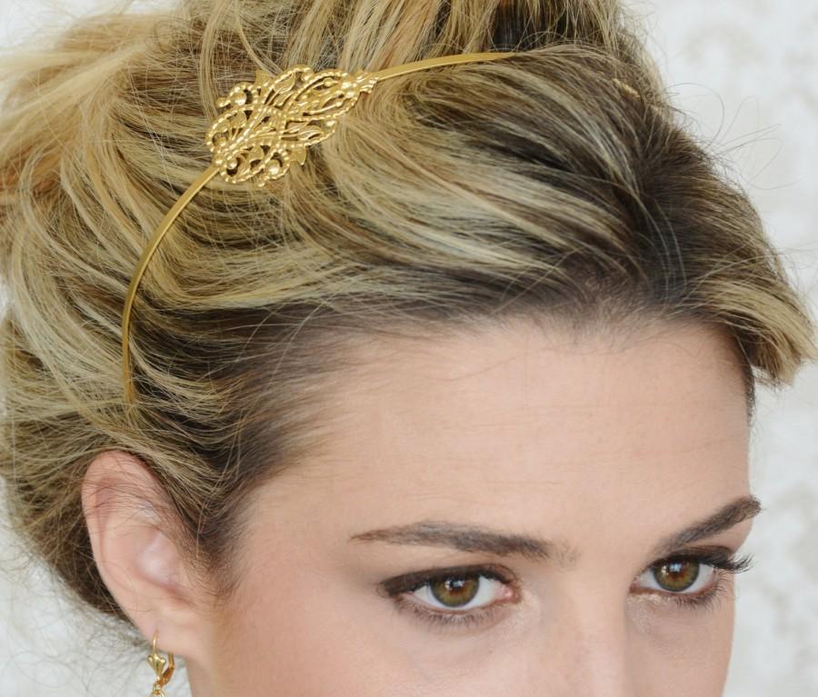Свадьба - Bridal Hair Accessories - Gold Bridal Hair Band - Gold Filigree Hair Band - Wedding Hair Accessory - Wedding Hair Band