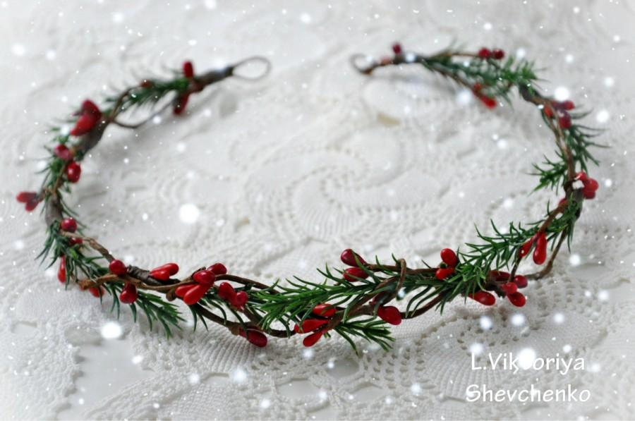 Mariage - Christmas hair crown Christmas headband Bridal crown Bridal floral crown Wedding flower crown Winter bridal crown Winter wedding