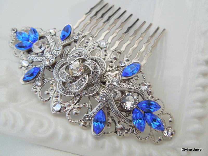 Mariage - Rhinestone hair comb Something blue hair comb Wedding hair comb Blue hair comb Swarovski Bridal blue hair comb Bridal hair comb ROSELANI