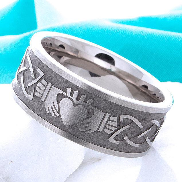 Wedding - Titanium Claddagh Ring Irish Celtic Titanium Wedding Band Promise Anniversary Celtic Claddagh Comfort Fit Band Mens Womens Ring Sizes 4-16