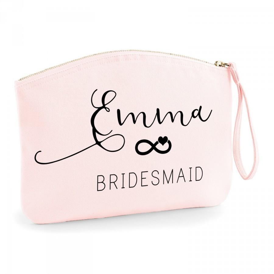 Свадьба - Personalised Beautiful Infinity Organic Spring Wristlet Bridesmaid Makeup Bag - Wedding cosmetic bag - Gifts for the Bride - Accessory Bag