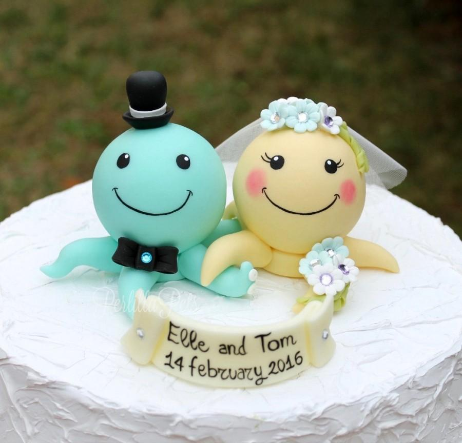 Mariage - Custom wedding cake topper, octopus cake topper, personalized bride and groom, beach sea wedding